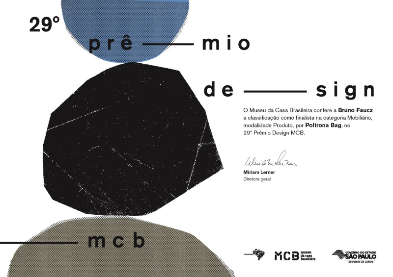 Museu da Casa Brasileira - certificado de finalista - poltrona Bag